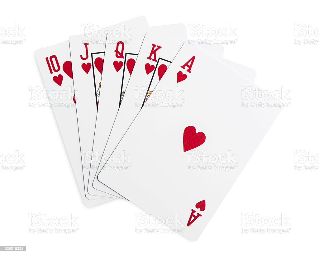 Playing Cards Isolated On White With Clipping Path Stock