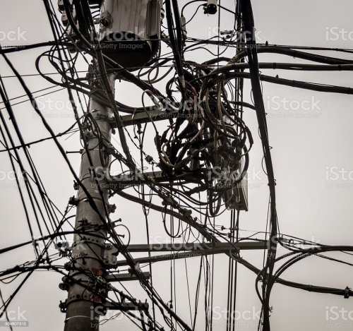 small resolution of power line and telephone line mess stock image