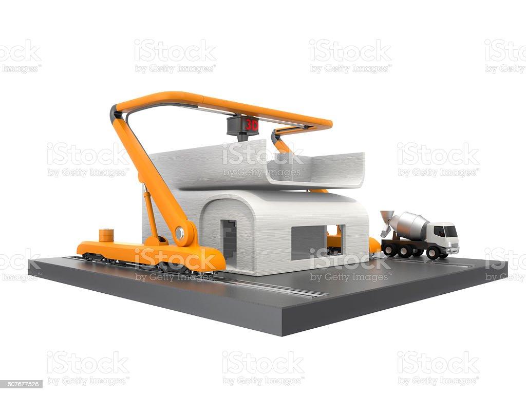 3 D Drucker Drucken Haus Ausschnitt Pfad Verfügbar Stock-Fotografie