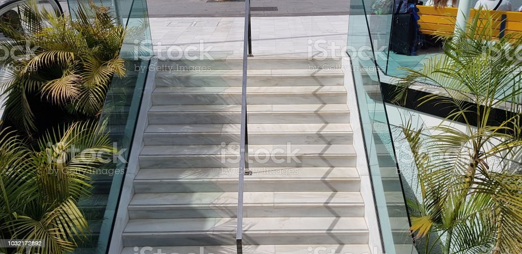 Public Staircase Stairway And Chrome Metal Handrail Divider With | Glass And Chrome Staircase | Contemporary | White Post | Single Spine | Lights | Stainless Steel
