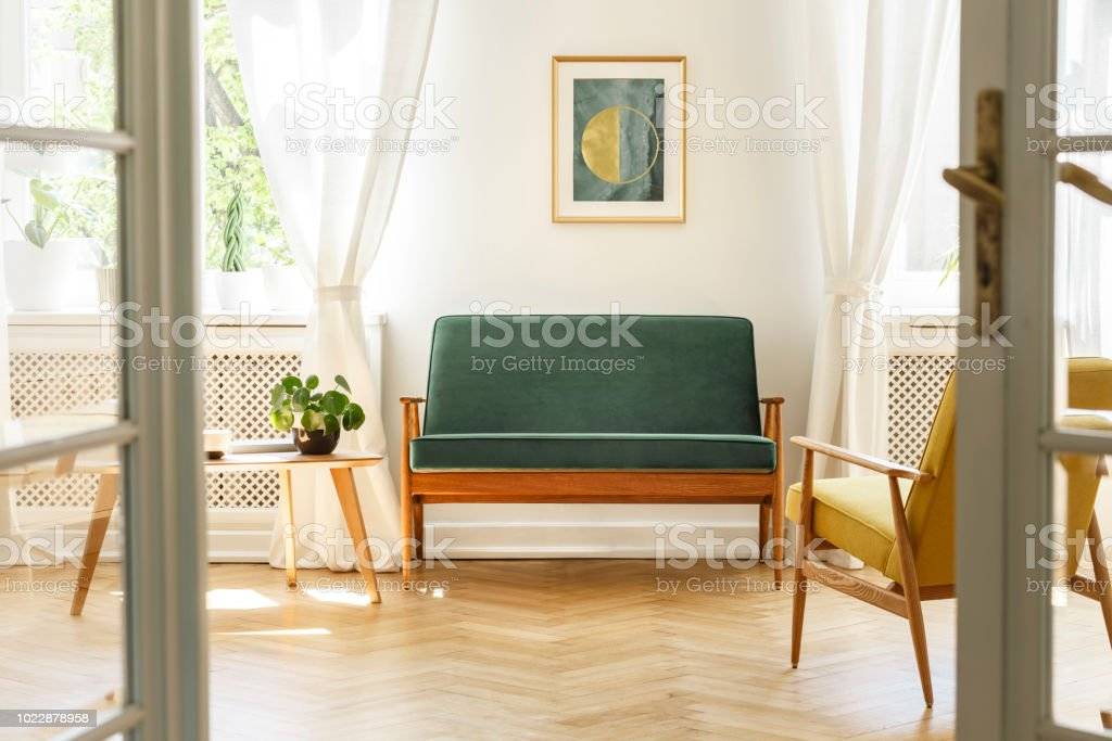vintage living room furniture art for walls real photo a interior with green sofa painting coffee table
