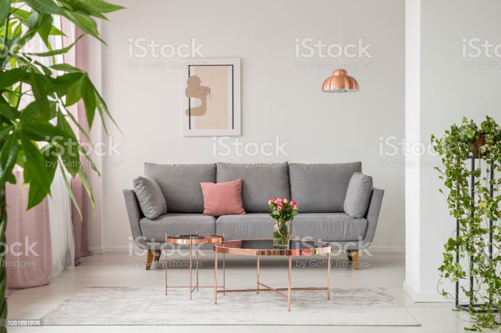 bright sofa leather corner sofas argos real photo of a comfy copper coffee table and plants in living