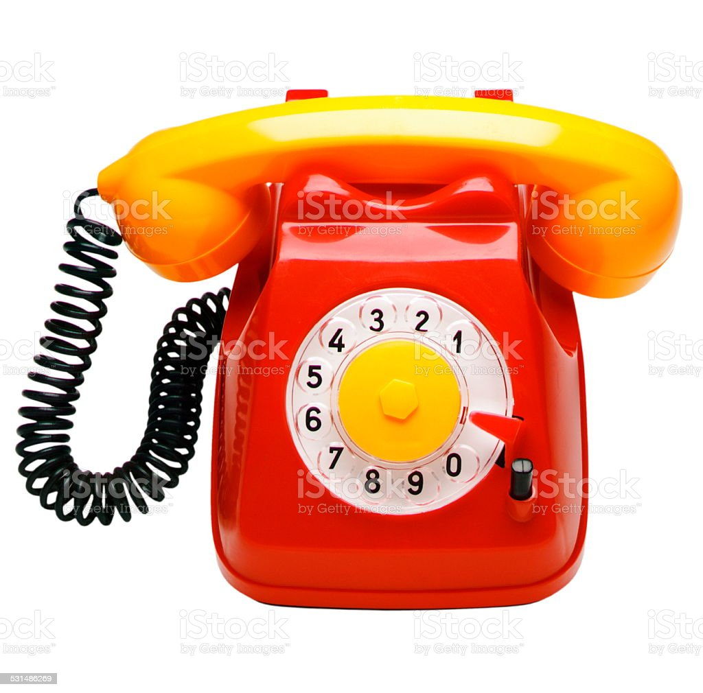 hight resolution of red and yellow rotary phone royalty free stock photo