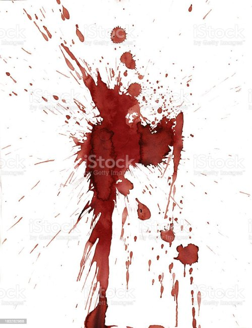 small resolution of red blood splatter stain on white background stock photo