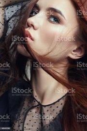 red hair women wind