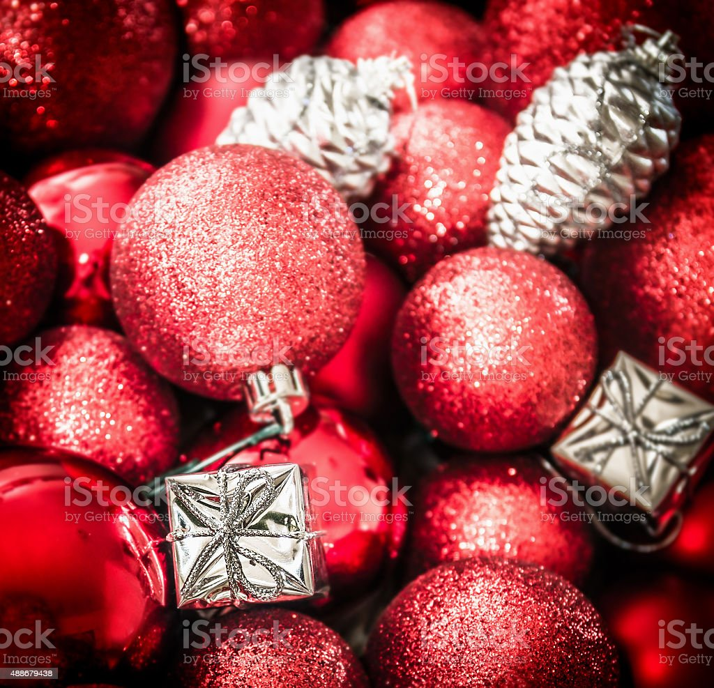 Red Silver Christmas Background With Decorations Balloons And Gift Boxes Stock Photo Download Image Now Istock