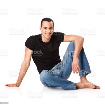 Relaxed Barefoot Male In Jeans Stock &