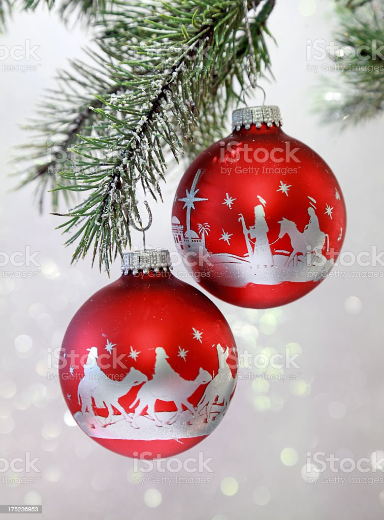 Religious Christmas Nativity Scene On Red And Silver Ornaments Stock Photo Download Image Now Istock
