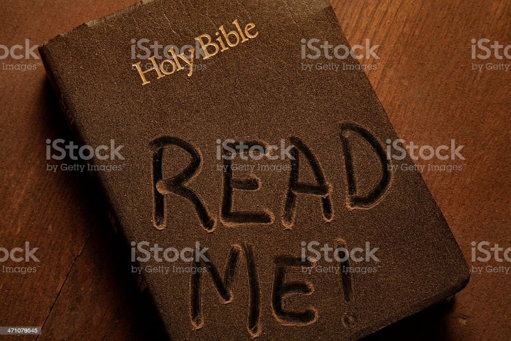 Religious Dusty Holy Bible Cover With Read Me Horizontal