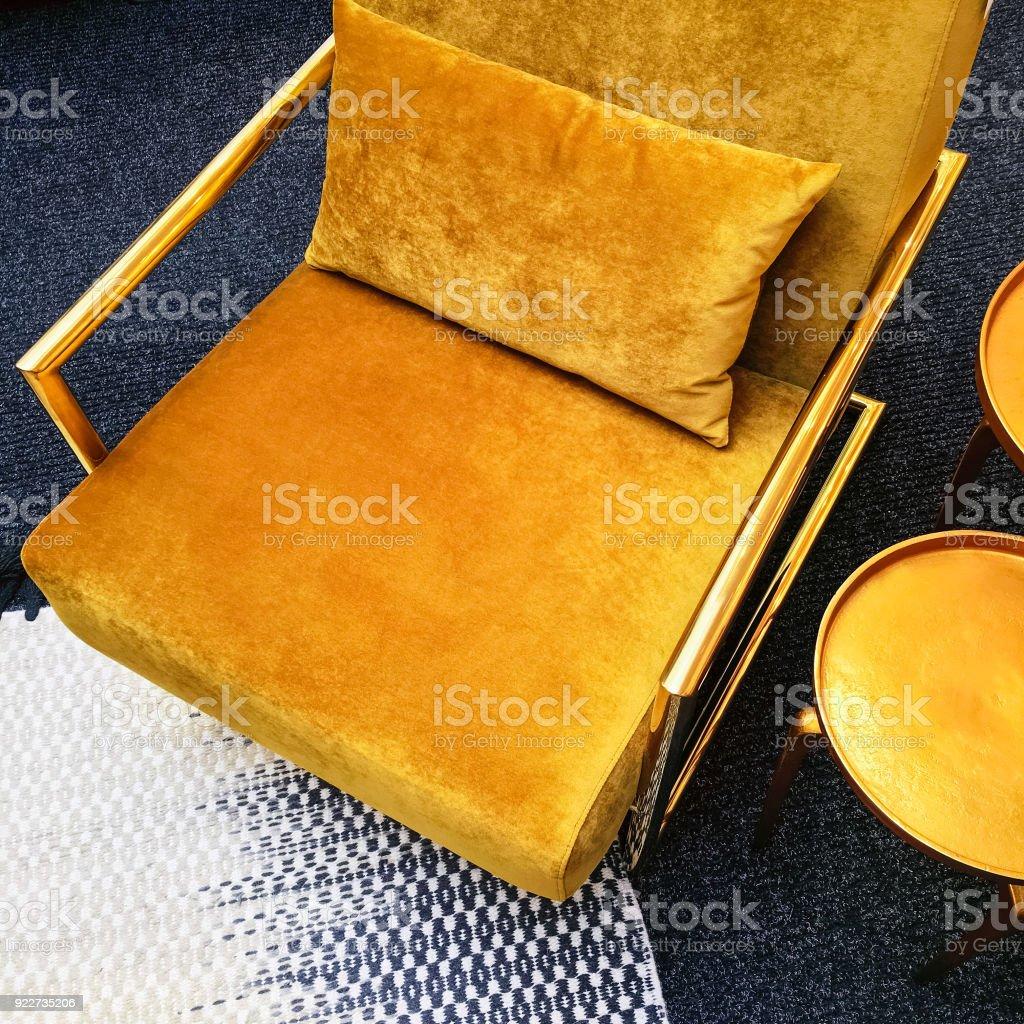 Retro Style Dark Yellow Velvet Armchair And Golden Side Table Stock Photo Download Image Now Istock