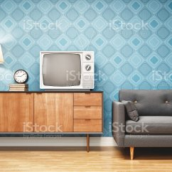 Retro Style Living Room Furniture Paint Colors For Brown Interior Design Stock Photo More Pictures Image
