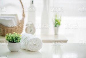 table living blurred roll space background towels copy