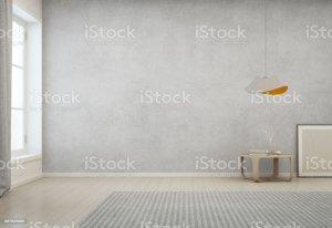 background empty wall modern interior carpet concrete minimal living 3d cozy rendering gray indoor floor illustration