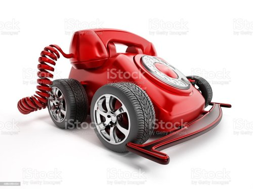 small resolution of rotary telephone with wheels royalty free stock photo