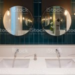 Row Of Modern Marble Ceramic Wash Basin In Public Toilet Restroom In Restaurant Or Hotel Or Shopping Mall Interior Decoration Design Stock Photo Download Image Now Istock