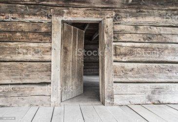 door cabin open background log rustic concept wall