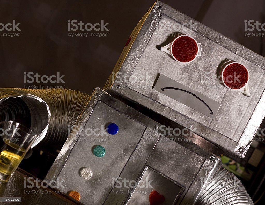 sad drinking robot stock