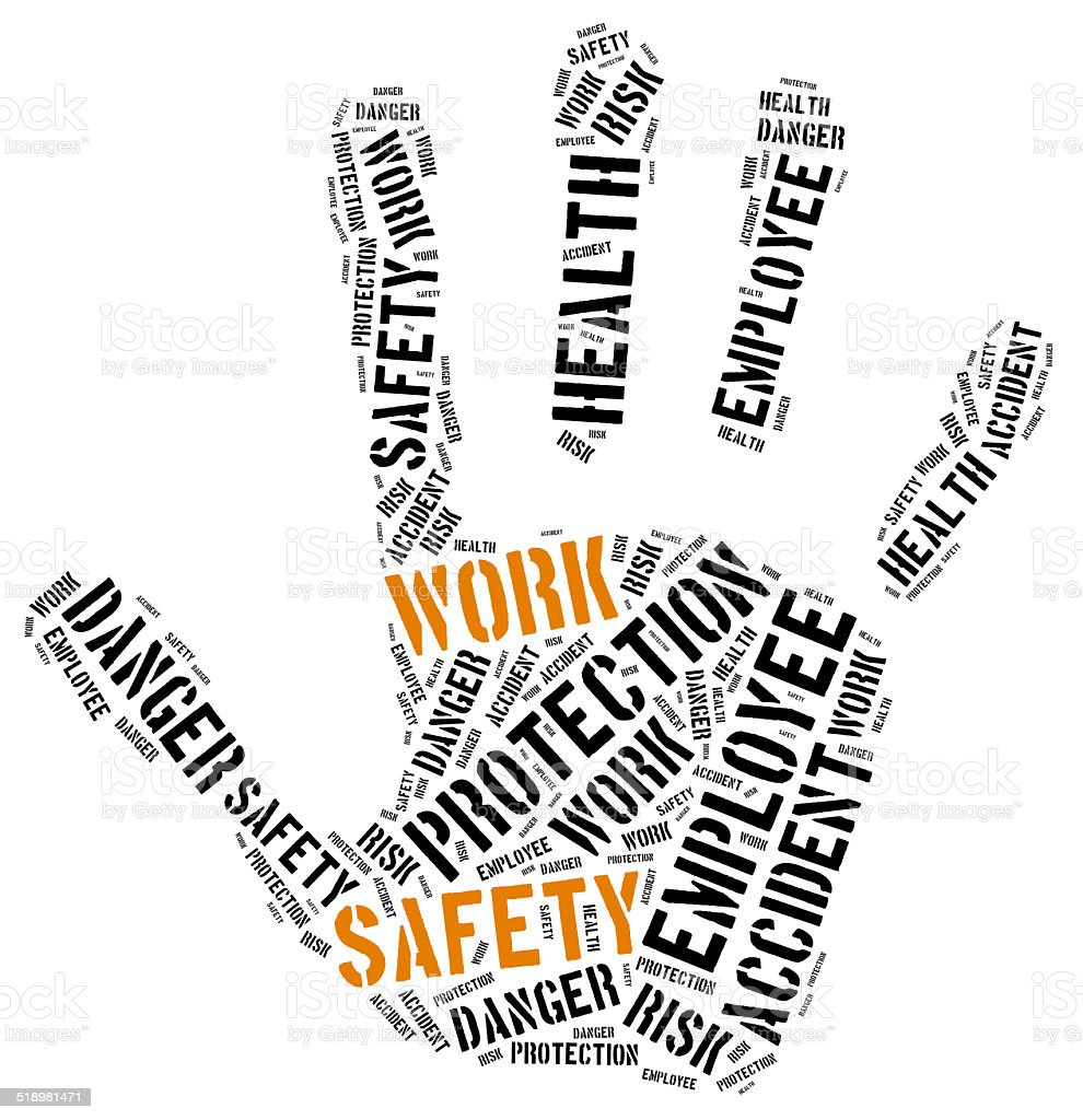 Safety At Work Concept Word Cloud Illustration stock photo