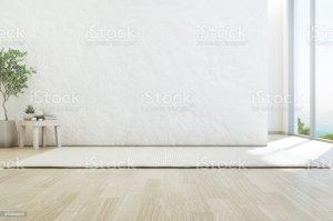 empty living window beach glass sea background luxury wall floor similar wooden