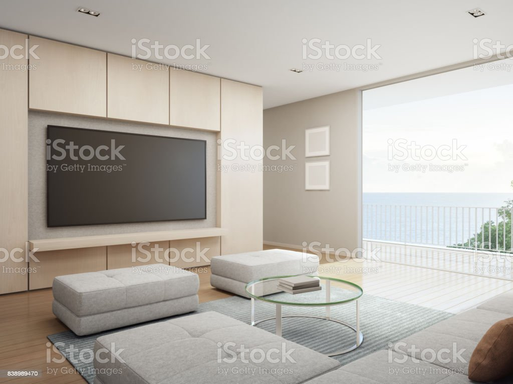 Sea View Living Room With Terrace In Modern Luxury Beach
