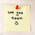 Foto De See You Soon Note On Paper Post It E Mais Fotos De Stock De Amarelo Istock