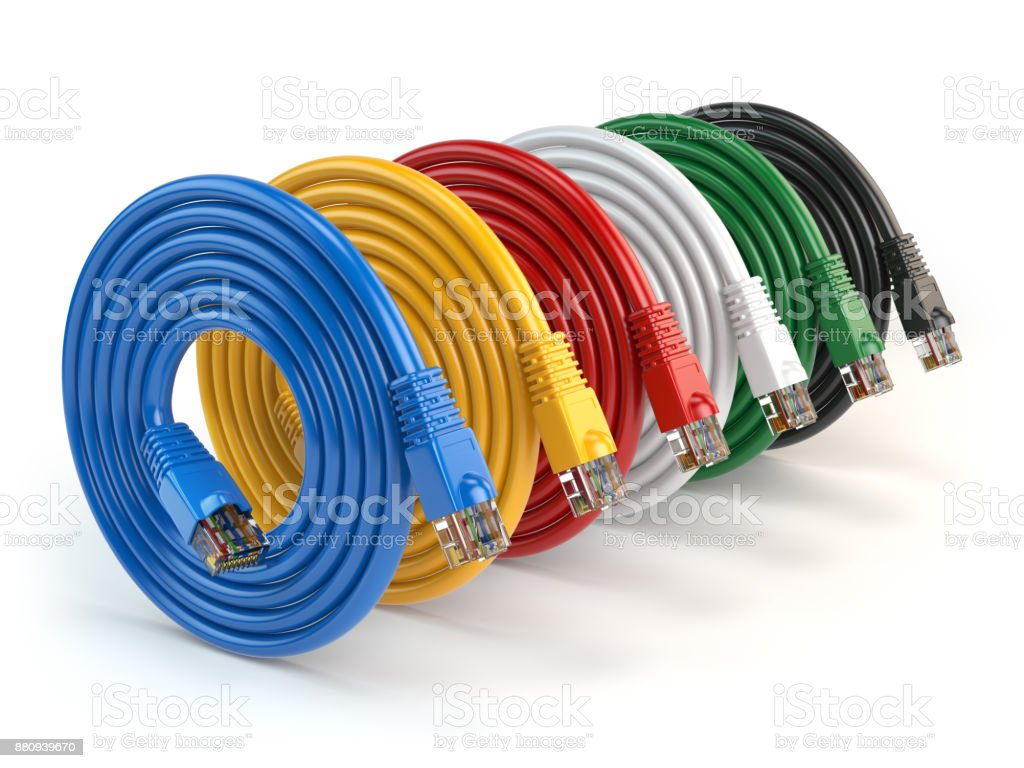 hight resolution of set of colorful of lan network connection ethernet cables internet cords rj45 isolated on white
