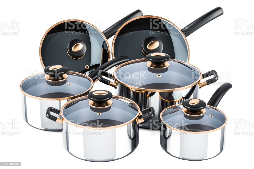 kitchen pots utensils set of cooking stainless steel and cookware pans 3d rendering isolated on white background stock image