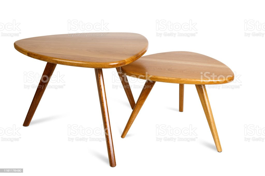 set of retro wooden coffee table on white background included clipping path stock photo download image now istock