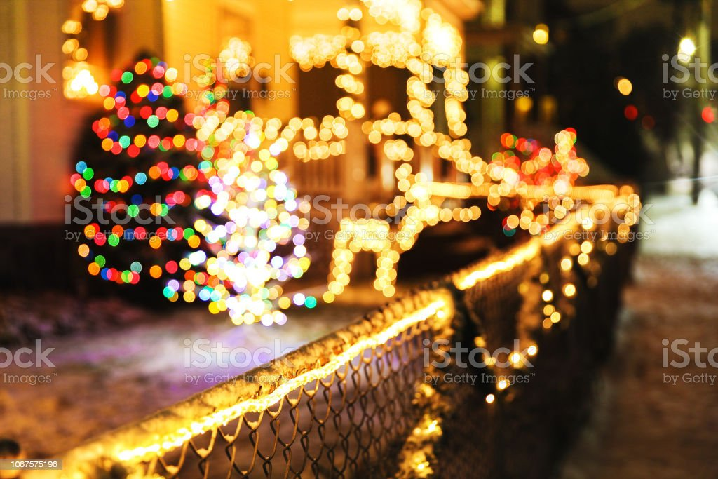 Shiny Christmas Decorations Outside At Night Stock Photo Download Image Now Istock