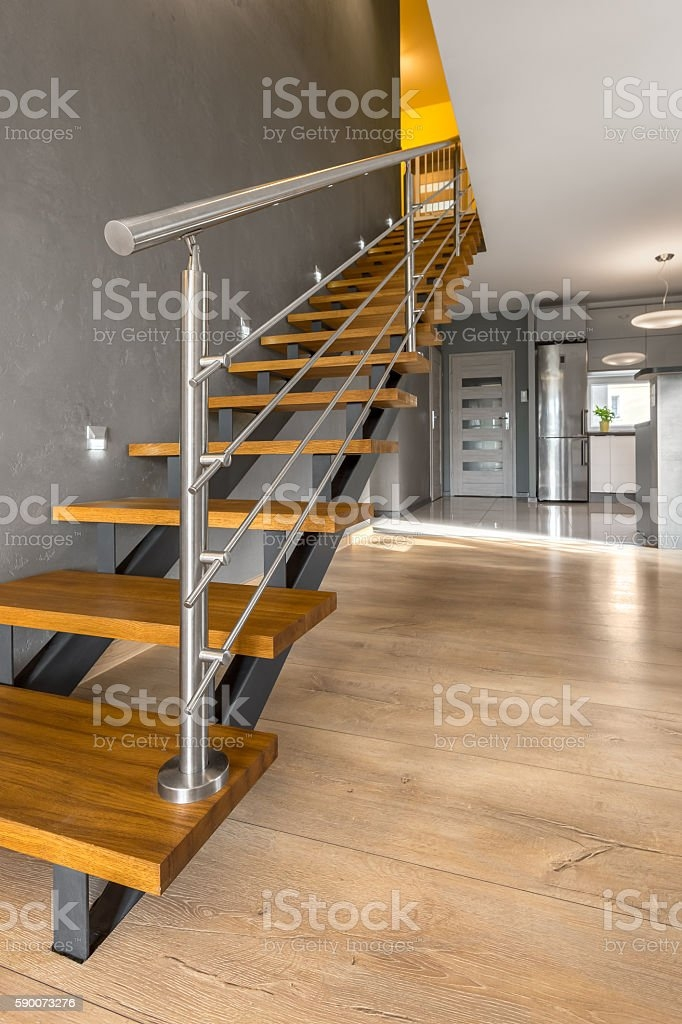 Simple Wooden Staircase Idea Stock Photo Download Image Now Istock   Simple Wooden Staircase Designs   Decorative   Classic Wood   Contemporary   Space Saving   Traditional