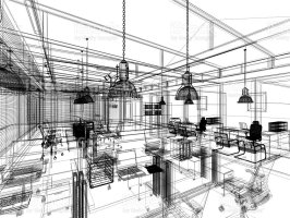Sketch Design Of Interior Office 3d Interior Wire Frame ...