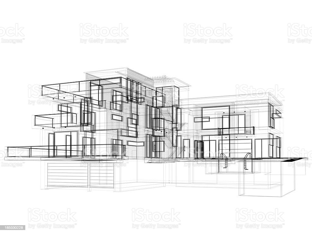 3d Sketch Modern House In Wire Frame Layout Side View