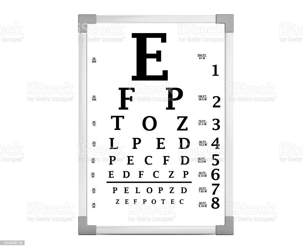 Snellen Eye Chart Test Box 3d Rendering Stock Photo & More