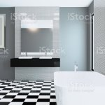 Spacious Bathroom In Gray Tones With Heated Floors Freestanding Tub 3d Rendering Empty Paintings Stock Photo Download Image Now Istock