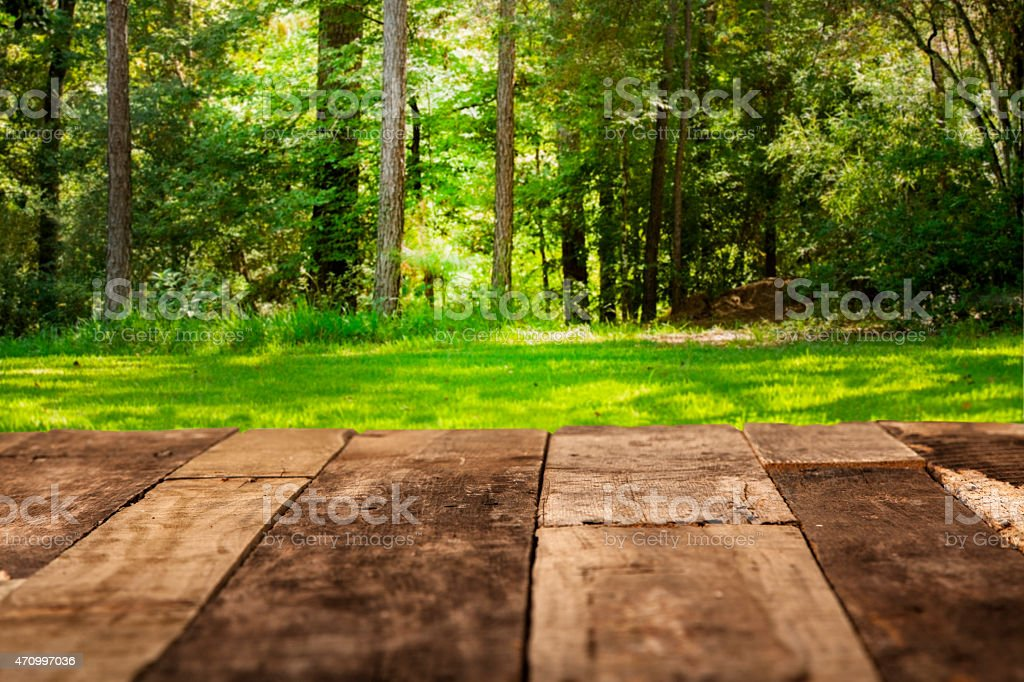 Spring Or Summer Backyard Background Rustic Wooden Table Stock Photo Download Image Now Istock