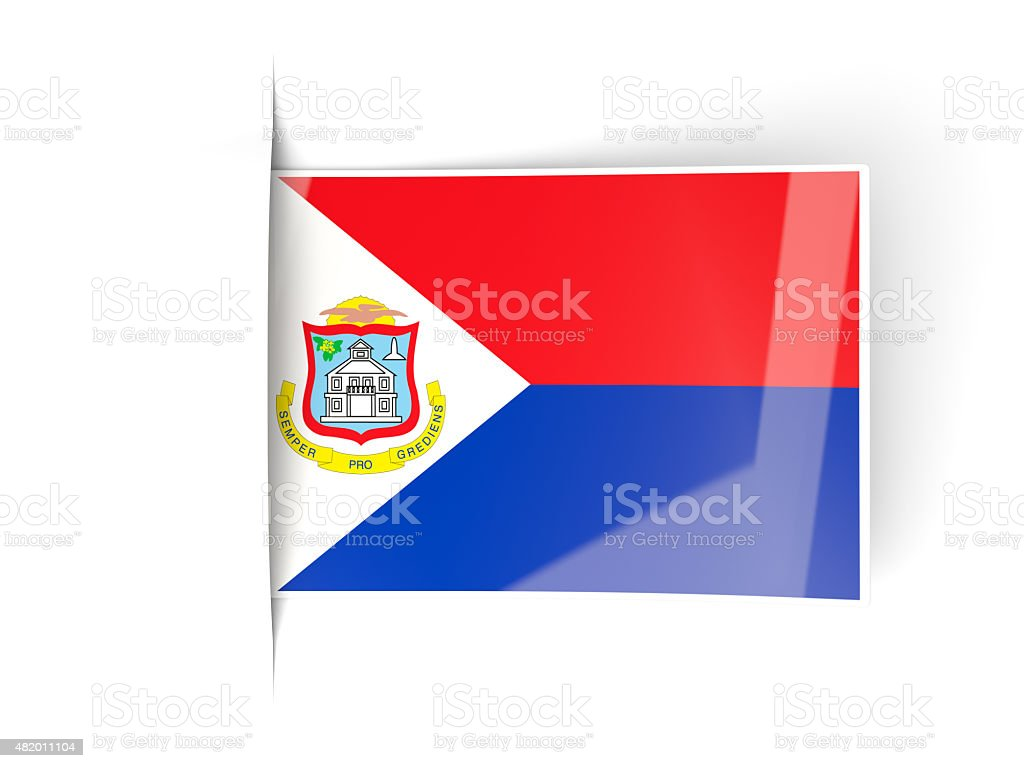 square label with flag