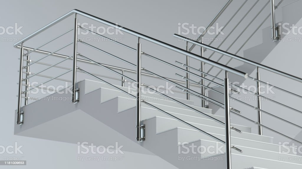 Stairs And Stainless Steel Railing Stock Photo Download Image   Ss Handrails For Stairs   Flat Steel   Mild Steel Handrail   Metal   Steel Railing   Commercial Building
