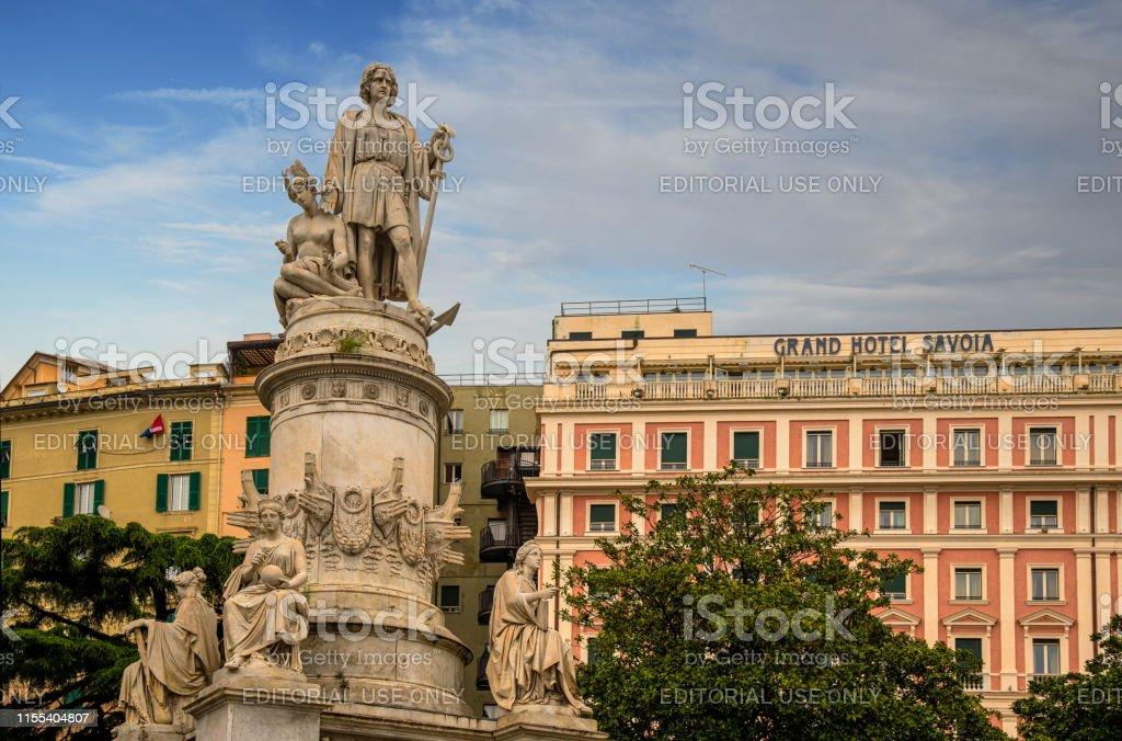 Statue Of Christopher Columbus In Piazza Acquaverde Square