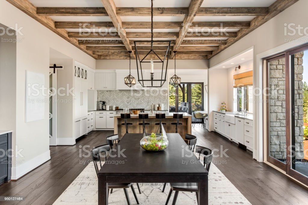 Stunning Kitchen And Dining Room In New Luxury Home Wood
