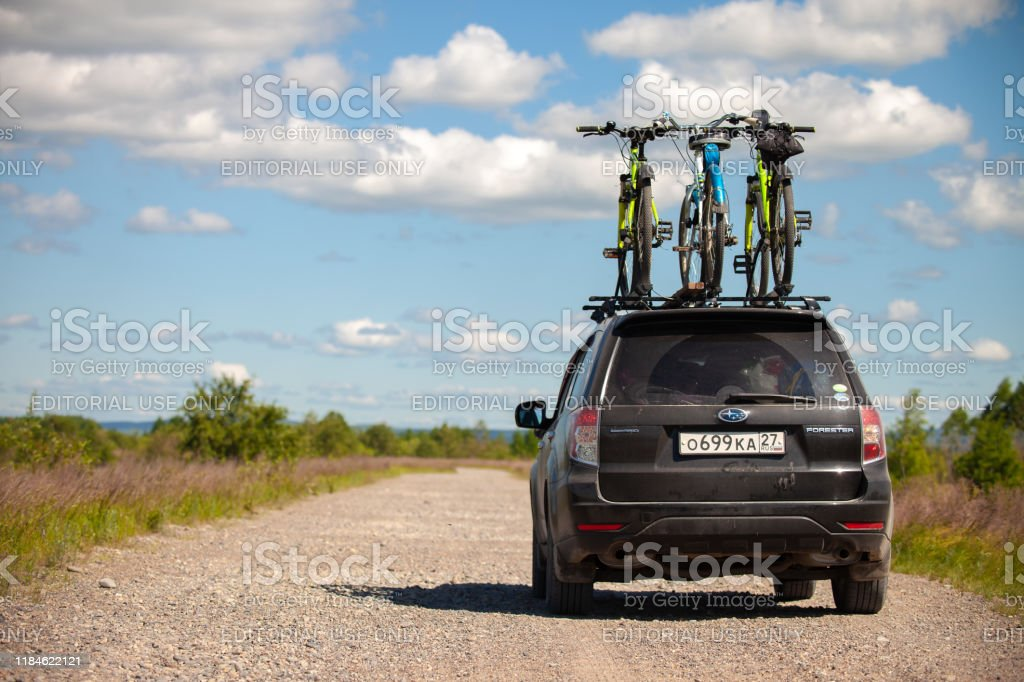 khabarovsk russia june 09 2019 subaru forester with three bicycles on roof rack stock photo download image now istock