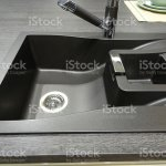 Synthetic Black Composite Granite Kitchen Sink With Single Bowl Basin Stock Photo Download Image Now Istock