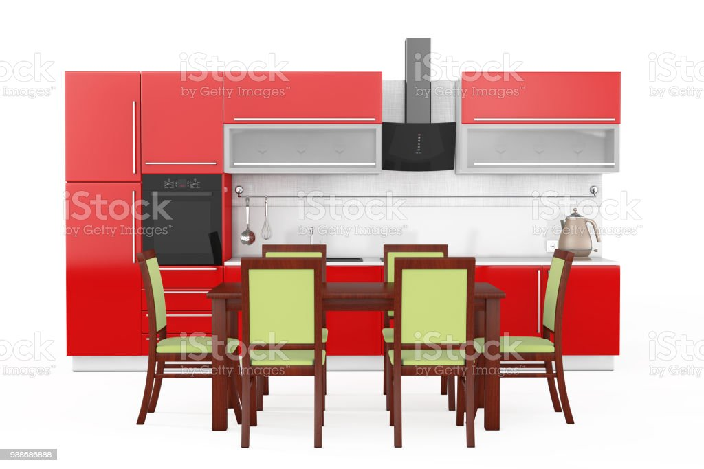 red kitchen chairs free design software table and in front of modern furniture with kitchenware 3d rendering royalty