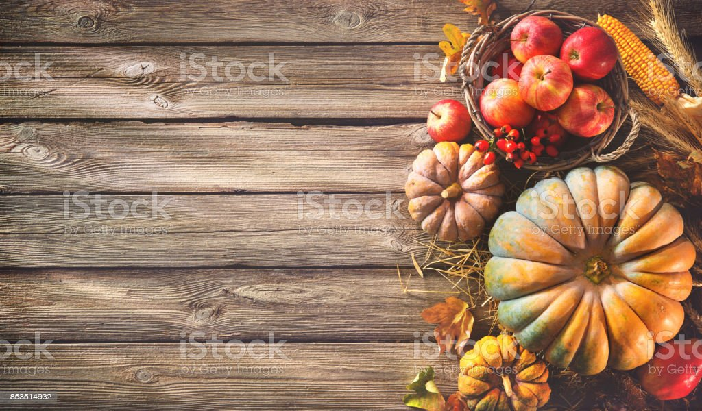 Fall Give Thanks Wallpaper Thanksgiving Background With Pumpkins And Falling Leaves