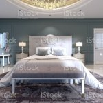 The Modern Design Of The Bedroom With A Large White Bed And A Stool With A Dressing Table Nearby Dark Walls Light Furniture White Marble Floor Stock Photo Download Image Now