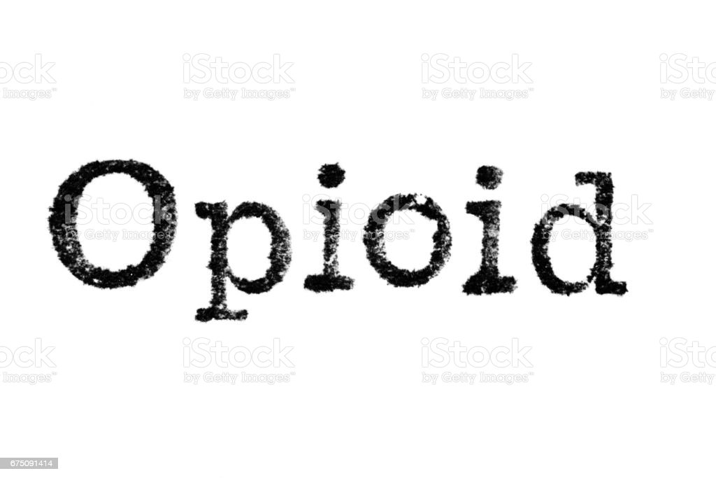 The Word Opioid From A Typewriter On White Stock Photo