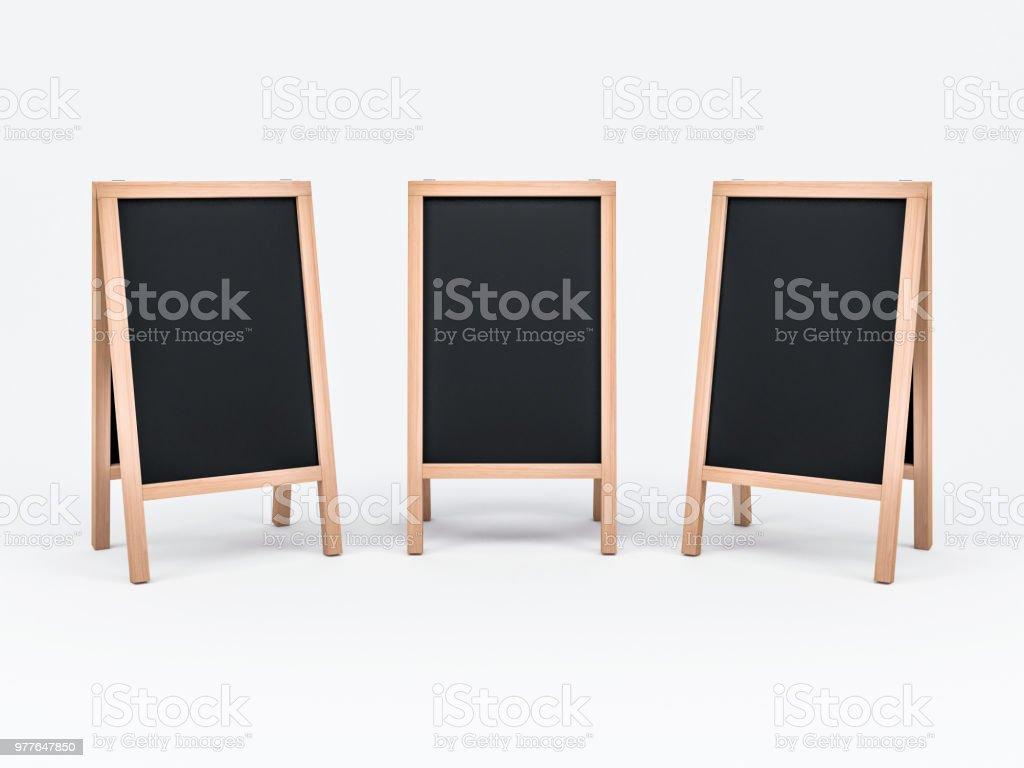 three wooden menu chalk