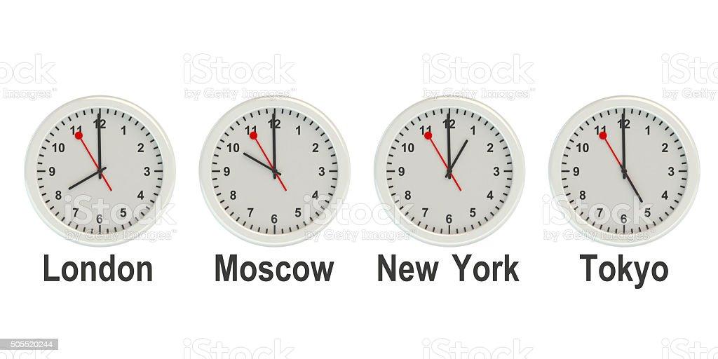 timezone wall clocks stock