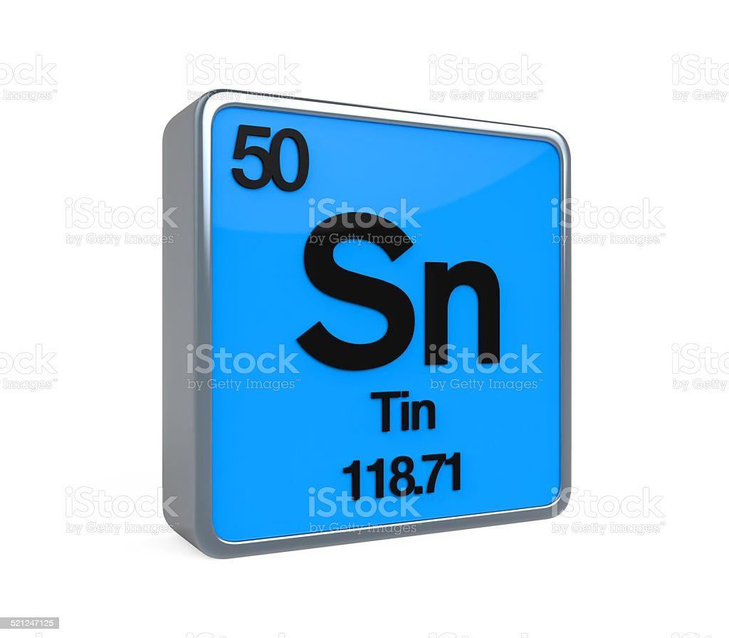 hight resolution of tin element periodic table stock image