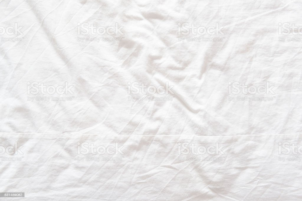 Top View Of A Messy Bedding Sheet After Night Sleep Stock