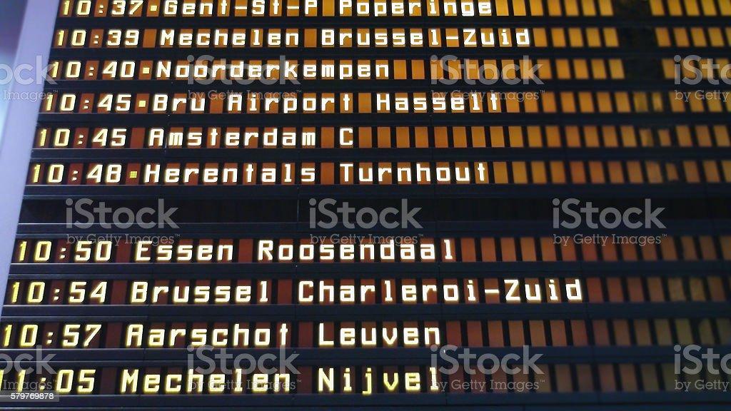 train departure sign board